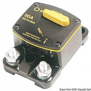 Interruttore termico stagno di protezione per verricello ed elica di prua, con terminali elettrici da 5/16