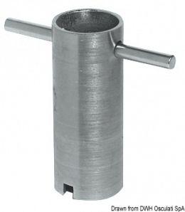 Attrezzo in acciaio zincato per il montaggio rapido degli scarichi a mare sia in ottone che in acciaio inox
