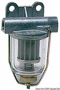 Filtro carburante con vaschetta trasparente in vetro